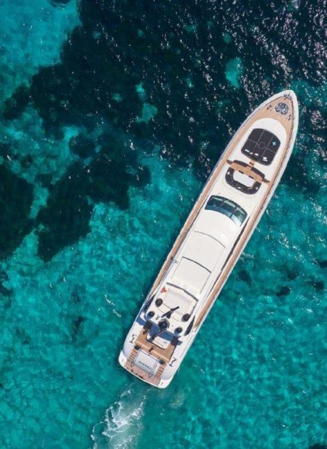 Drone view of the Mangusta 130 super luxury yacht sailing in Formentera