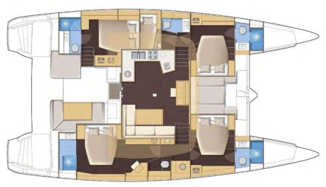 Layout map Lagoon 52 catamaran charter Ibiza