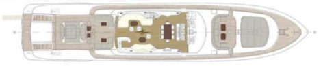 Layout map of the uppder deck Mangusta 130 Ibiza Formentera