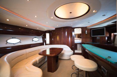 Luxurious lounge inside the Princess V65 yacht Ibiza Formentera