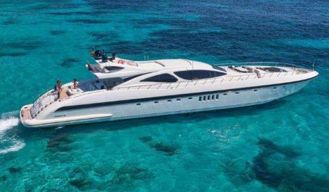 Mangusta 130 mega yacht for rent in Ibiza