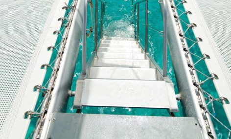 Stairway to heaven is how we like to call the steps that will allow all passenger to swim on the catamaran rental in Ibiza for 100 people