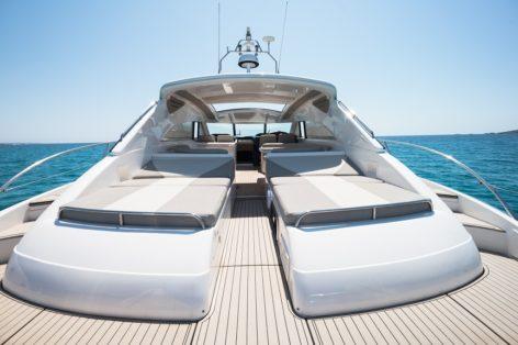 Sunbeds on the luxury yacht Princess V65