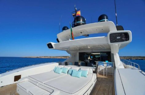 Sunbeds on the rear deck of the Mangusta 130 luxury yacht