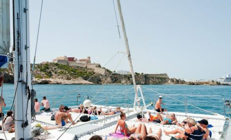 The trampoline is the best place of this mega catamaran for 100 people