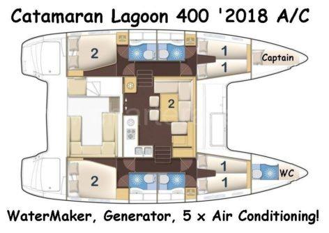 Lagoon 400 catamaran distribution plan for rent in Ibiza and Formentera