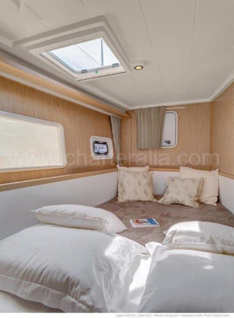 One of the two double cabins in the Lagoon 400 catamaran