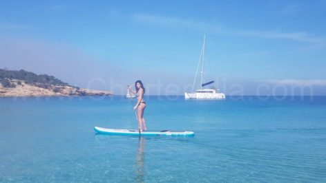 The Lagoon 400 catamaran with ac includes a stand up paddle board