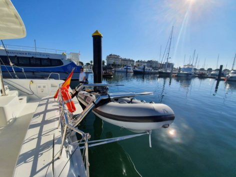 Dinghy hanging from the davits of the new Lagoon 40 catamaran in Ibiza