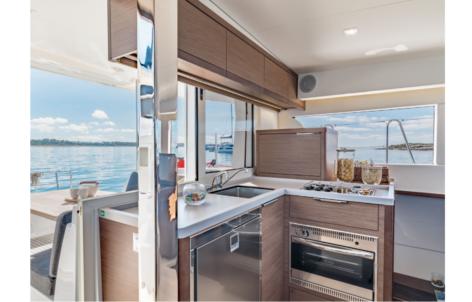 Full equipped kitchen of the brand new catamaran Lagoon 40 of 2020