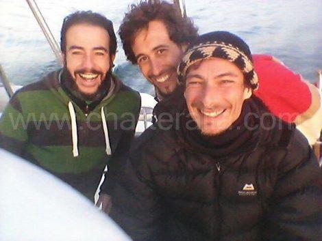 Avec Jose Navas et Jose Zorrilla aux transfert du catamaran Lagoon jusqu a Ibiza