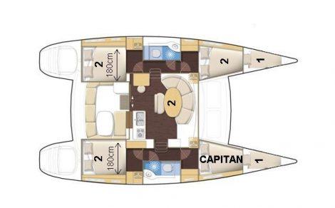 plans du catamaran Lagoon 380 six cabines mesures et places