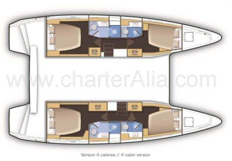 Plan d'étage du bateau Lagoon 42 en location à Eivissa