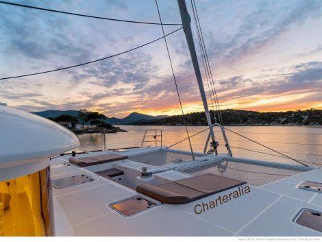 coucher de soleil-Ibiza-en-Lagoon-catamaran