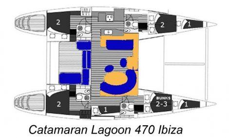plan de la repartition du catamaran Lagoon 470 en location à la nuitée ou journée