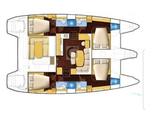 plan de la repartition du lagoon 420 avec cabine et salle de bain