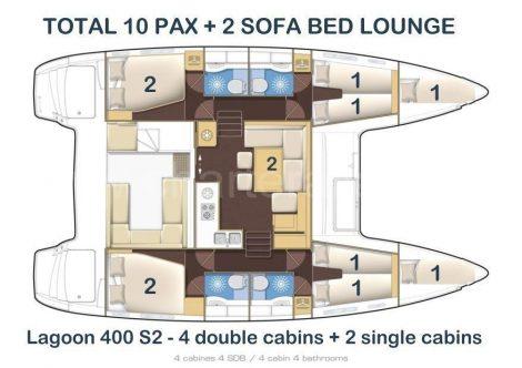 Plan du Lagoon 400 avec 4 toilettes et 4 cabines
