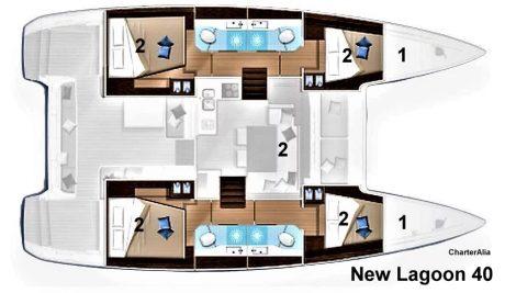 Lagoon 40 plan de la reparticion des cabines