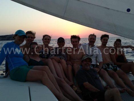 Naviguer a la voile lors du coucher de soleil sur notre Lagoon 380 n a pas de prix