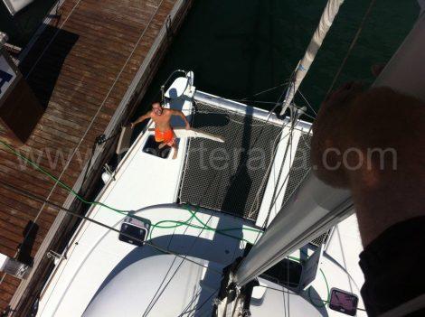Proue du catamaran depuis le mat