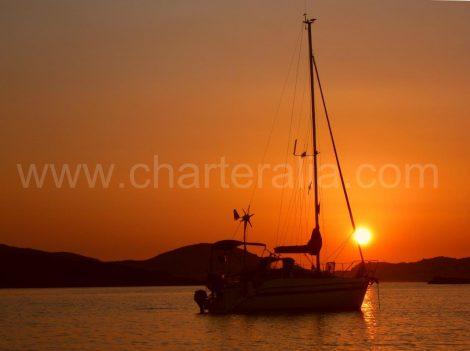 tramonto barca a vela Ibiza