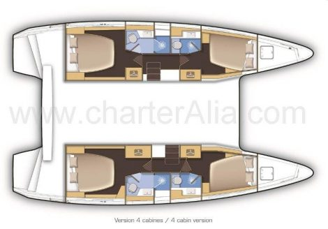 Planimetrie di Lagoon 42 barca in affitto a Eivissa