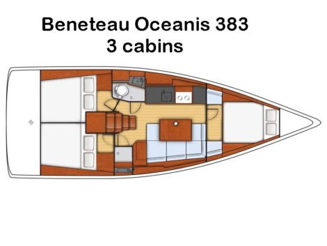 Mappa di distribuzione interna della barca a vela Beneteau Oceanis 383