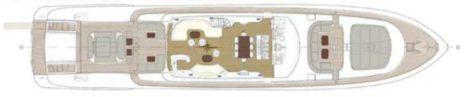 Mappa del layout del ponte superiore Mangusta 130 Ibiza Formentera