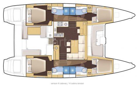 Lay-outkaart Lagoon 450 catamaran