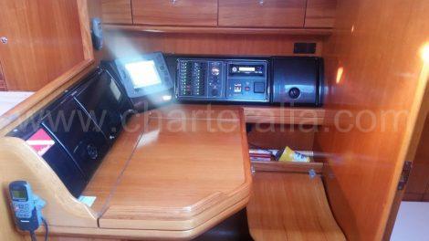 Kaartentabel en bedieningspaneel op zeilboot te huur op Ibiza