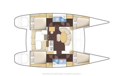 Plattegronden van de Lagoon 380 2018 catamaran te huur op de Balearen