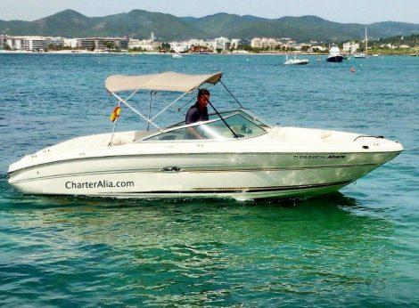 Sea Ray 210 speedboot Ibiza met luifel