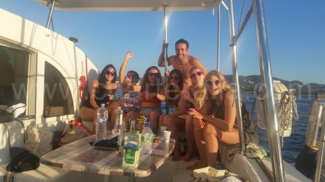 selfie op boot op weg naar formentera