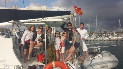 Groepsfoto bij aankomst in San Antonio Nautic