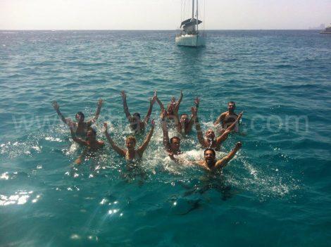 Spring in het water geluk