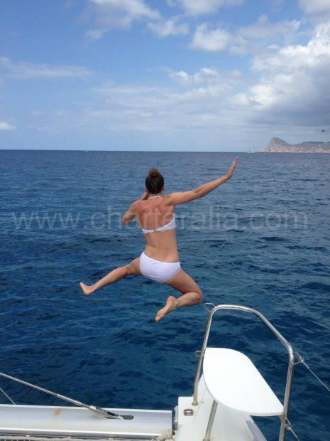 Springen van de catamaran naar Espalmador.