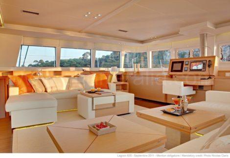 Luxe catamaran lounge in Ibiza