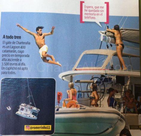 Spaanse beroemdheden verschenen in tijdschriften aan boord van de Lagoon 400-catamaran