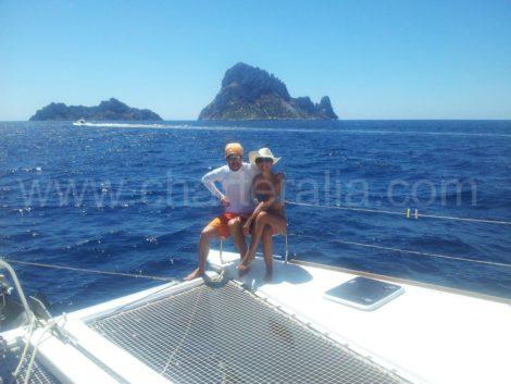 A maioria das pessoas quer tirar uma foto com Es Vedra como pano de fundo do nosso catamara