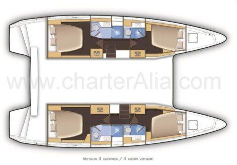 Поэтажные планы Lagoon 42 лодка в аренду в Эивисса