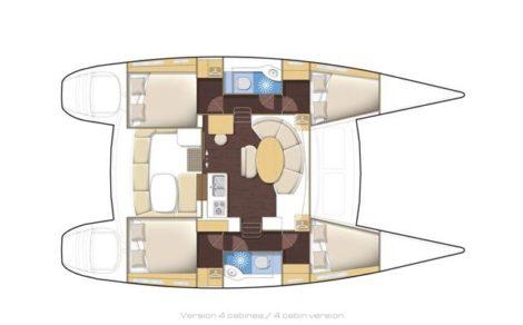 Поэтажные планы катамарана Lagoon 380 2018 на прокат на Балеарских островах