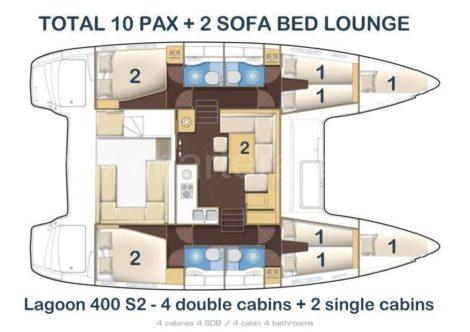 Схема расположения Lagoon 400 S2 с четырьмя двухместными номерами и четырьмя туалетами