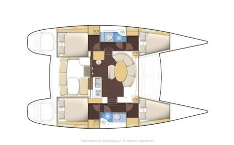 Distribuzione interiore catamarano Lagoon 380 Ibiza y Formentera