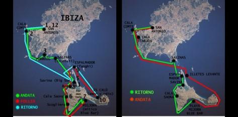 mapas con rutas de navegacion de barcos entre ibiza y formentera