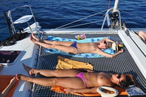 Red catamaran Mallorca