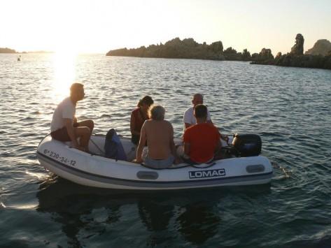 Zodiac del catamaran en Ibiza