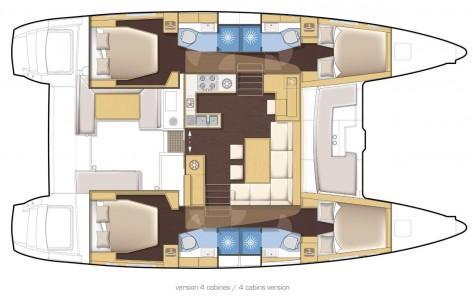 Plano distribucion interior catamaran Lagoon 450 Mallorca