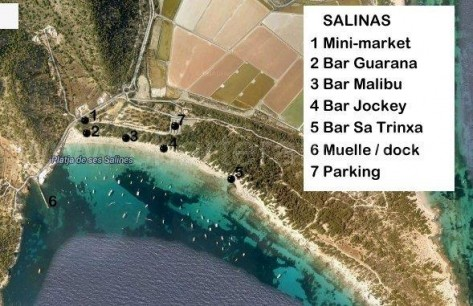 mapa playa Salinas Ibiza