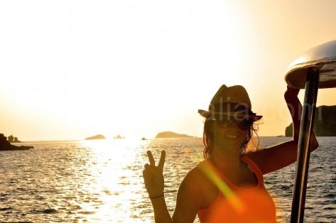 Puesta de sol barco Ibiza
