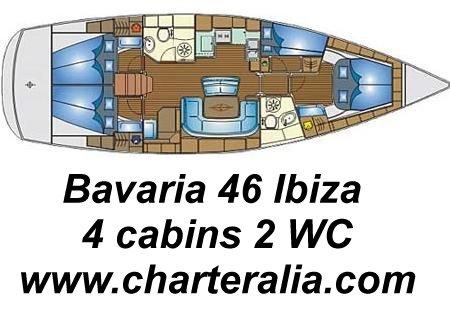 bavaria 46 mapa interior distribución cabinas